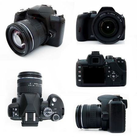 Digital SLR camera from all viewpoints isolated on white showing all the features typical of a DSLR Stock Photo