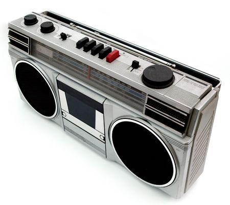 boombox: 1980s style portable cassette player radio perfect for retro style designs