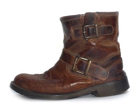 and worn out: A old brown leather worn out work boots