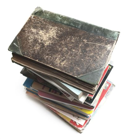 A stack of old vintage and modern books photo