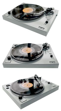 Complete record player from left right and front angles. Stock Photo