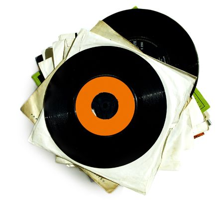 Stack of old vintage 7inch vinyl records Stock Photo
