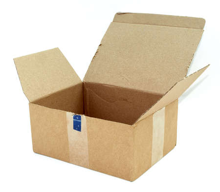 Open cardboard box against a white background Stock Photo - 3084891