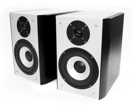 tweeter: Two silver and black speakers against a white background Stock Photo