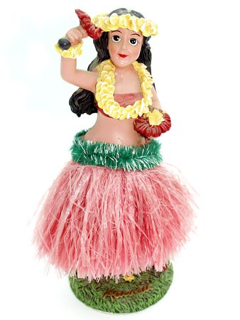 Colorful Hawaiian doll against a white background Stock Photo