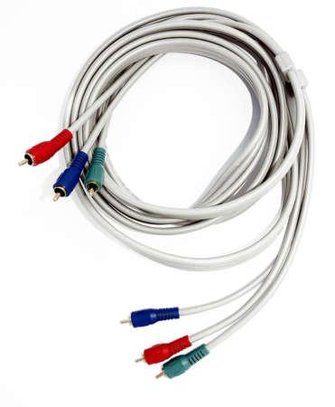 reb: Rojo verde y azul, los cables de componente sobre un fondo blanco Foto de archivo