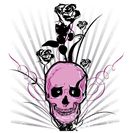 Skull and roses Vector illustration All parts are complete and fully editable