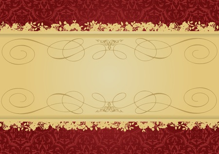 Vintage Red and Gold decorative banner vector illustration All parts are editable