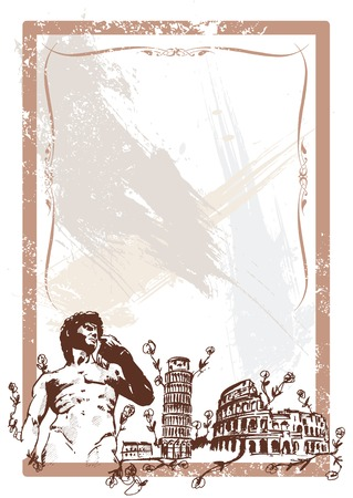 Italian Landmarks illustration including Pisa the rome Colosseum and Michelangelos David All parts are editable