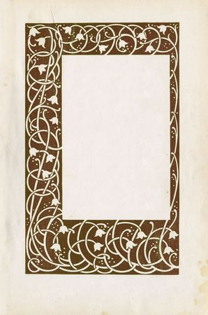 Vintage floral frame and paper texture photo