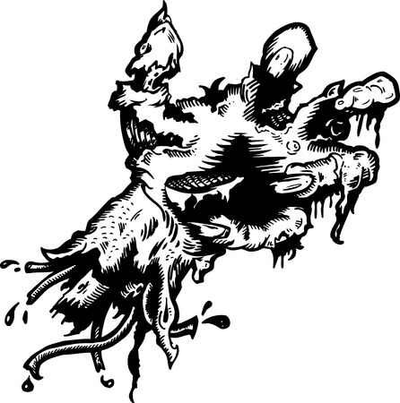 Severed rotting hand  illustration hand drawn and converted to vector format fully editable Illustration