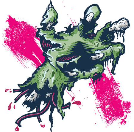 Severed rotting hand halloween illustration hand drawn and converted to vector format fully editable