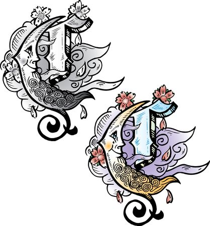 Hand drawn tattoo style letter C with relevant symbols incorporated including a crescent moon, cherry blossoms and clouds. All parts are fully editable. Part of a growing collection of tattoo theme illustrations. View my full portfolio for more details. illustration