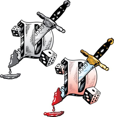 Hand drawn tattoo style letter D with relevant symbols incorporated including a bloody dagger and dice. All parts are fully editable. Part of a growing collection of tattoo theme illustrations. View my full portfolio for more details. illustration