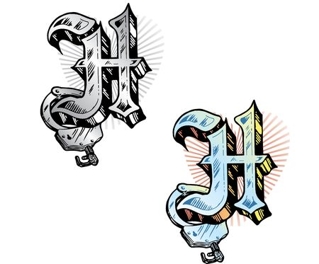 Hand drawn tattoo style letter H with relevant symbols incorporated including handcuff and subtle heart shape background. All parts are fully editable. Part of a growing collection of tattoo theme illustrations. View my full portfolio for more details. Stock Illustration - 3750050