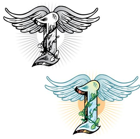 icarus: Hand drawn tattoo style letter I with relevant symbols incorporated including the wings of icarus and ivy. All parts are fully editable. Part of a growing collection of tattoo theme illustrations. View my full portfolio for more details.