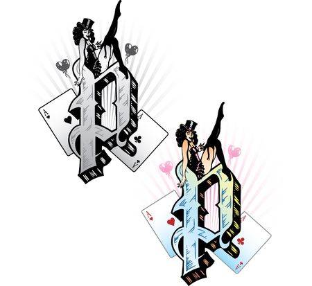 symbolic woman: Hand drawn tattoo style letter P with relevant symbols incorporated including a sexy pin-up girl and playing cards. All parts are fully editable. Part of a growing collection of tattoo theme illustrations. View my full portfolio for more details.