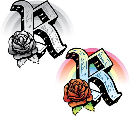 Hand drawn tattoo style letter R with relevant symbols incorporated including a red rose and rainbow. All parts are fully editable. Part of a growing collection of tattoo theme illustrations. View my full portfolio for more details. illustration
