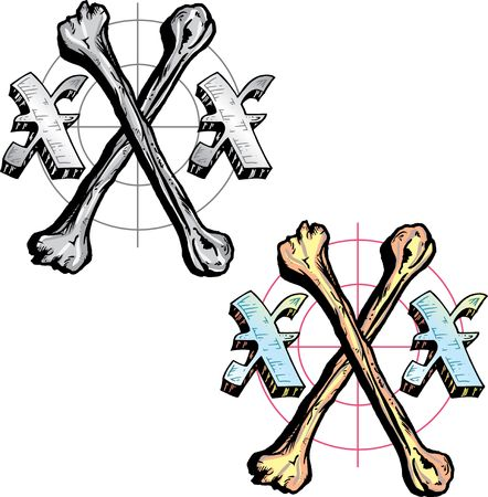Hand drawn tattoo style letter X with relevant symbols incorporated including triple x an bones to symbolize xray. All parts are fully editable. Part of a growing collection of tattoo theme illustrations. View my full portfolio for more details. Stock Illustration - 3750046