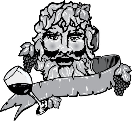Bacchus or Dionysus the god of wine vector illustration with banner. Black and white version. Colour also available. Иллюстрация