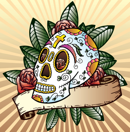 Day of the dead festival skull tattoo style vector illustration. Fully editable colour version. Black and white also available