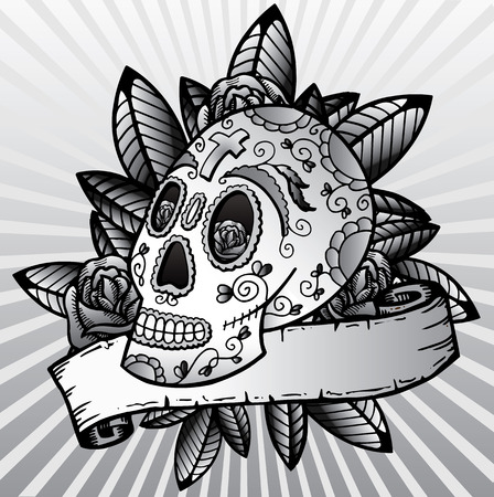 Day of the dead festival skull tattoo style vector illustration. Fully editable black and white version. Colour also available