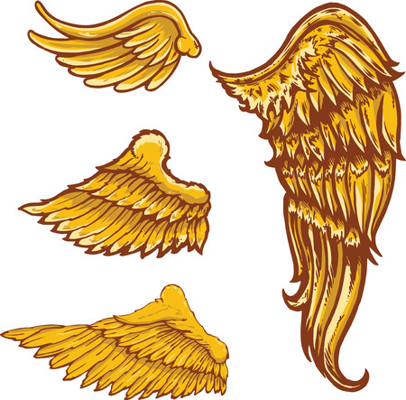 Tattoo style vector wings illustrations collection.