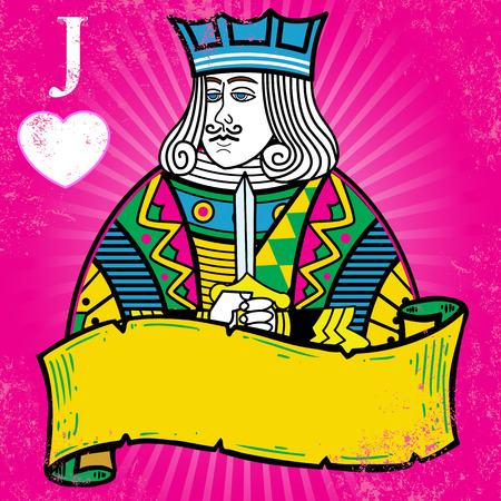 Colorful Jack of Hearts with banner illustration. All elements are separate and fully editable Иллюстрация