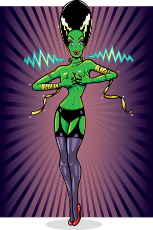Sexy female frankensteins monster pin up vector illustration. Fully editable