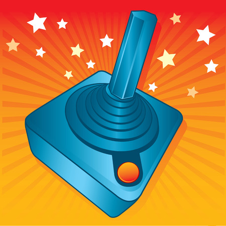 Retro style games joystick vector illustration. fully editable