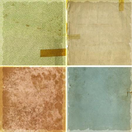 papel quemado: Colecci�n de cuatro �spero papel grunge antecedentes Foto de archivo