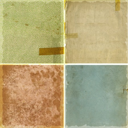 Collection of four rough grunge paper backgrounds Фото со стока