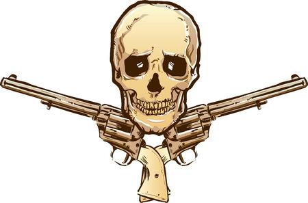 Tattoo style vintage pistols and skull illustration. Fully editable