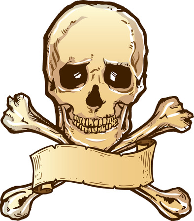 Skull crossbones and banner vector illustration. Fully editable Illustration
