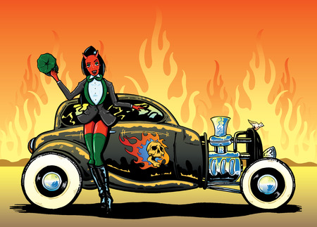 Hotrod To Hell kustom culture style pin up illustration Иллюстрация