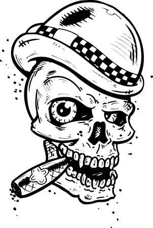 Punk tattoo style skull with wings smoking a cigar vector illustration. Fully editable Illustration