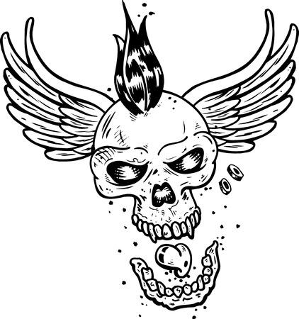 Punk tattoo style skull with wings vector illustration. Fully editable Illustration