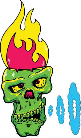 Skull with a flaming head vector illustration. Fully editable Stock Vector - 5088209