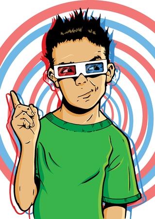 questionnement: Jeune gar�on portant des lunettes 3D avec une expression douteuse. Peut-�tre interroger les vertus de nouveaux films 3D