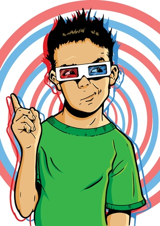 Young boy wearing 3D glasses with a questionable expression. Maybe questioning the virtues of new 3D movies  Illustration