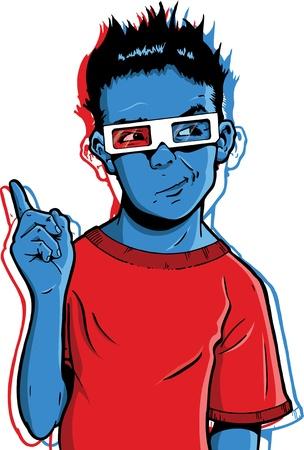 questioning: Junge mit 3D-Brillen mit einem fragw�rdigen Ausdruck. Vielleicht fragen die Tugenden der neuen 3D-Filme