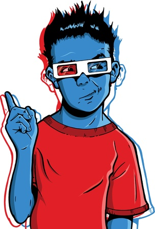 questionable: Young boy wearing 3D glasses with a questionable expression. Maybe questioning the virtues of new 3D movies  Illustration