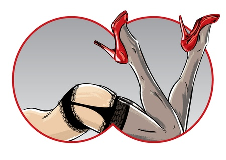 Sexy female pose showing legs and stiletto shoes. Perfect for a burlesque show poster and lingerie advert. Stock Vector - 9931992
