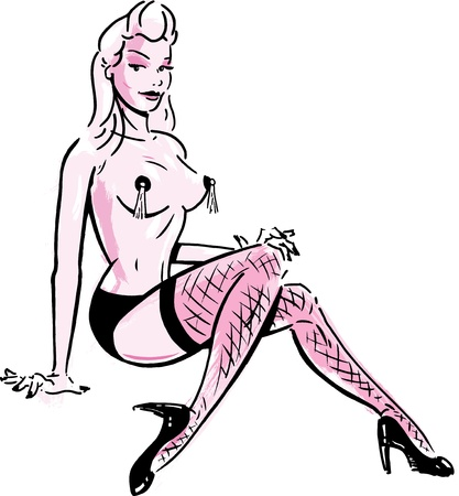 female stripper: Burlesque dancer wearing stockings and pasties Illustration