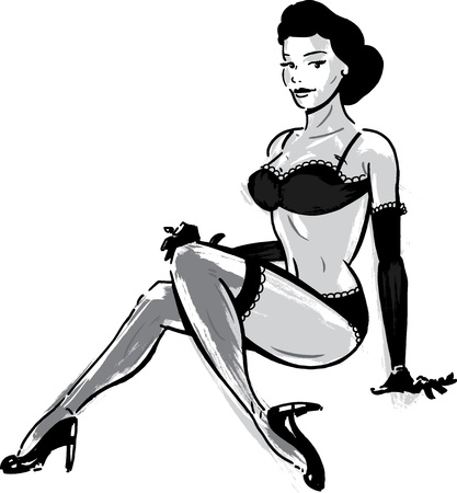 Burlesque dancer in underwear illustration. Perfect for your next event poster. Иллюстрация
