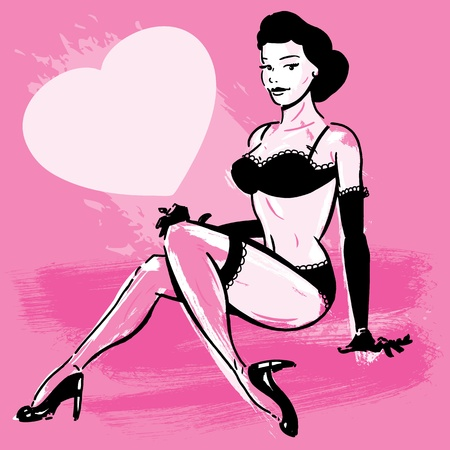Burlesque dancer in underwear illustration. Perfect for your next event poster. Illustration