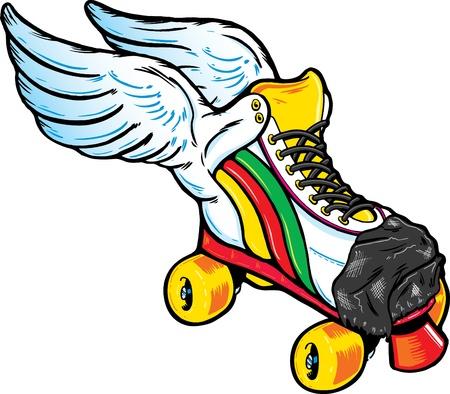rollerskates: Retro Style Winged Roller Skate. Illustration