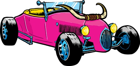 hotrod: Hot Rod style car with large horns on the bonnet Illustration