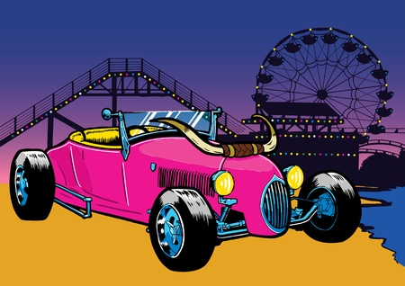 rides: Hot Rod style car on the beach with fairground rides in the background.