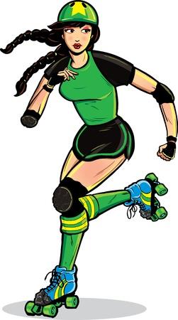 roller skates: Roller Derby Girl in action.  Illustration